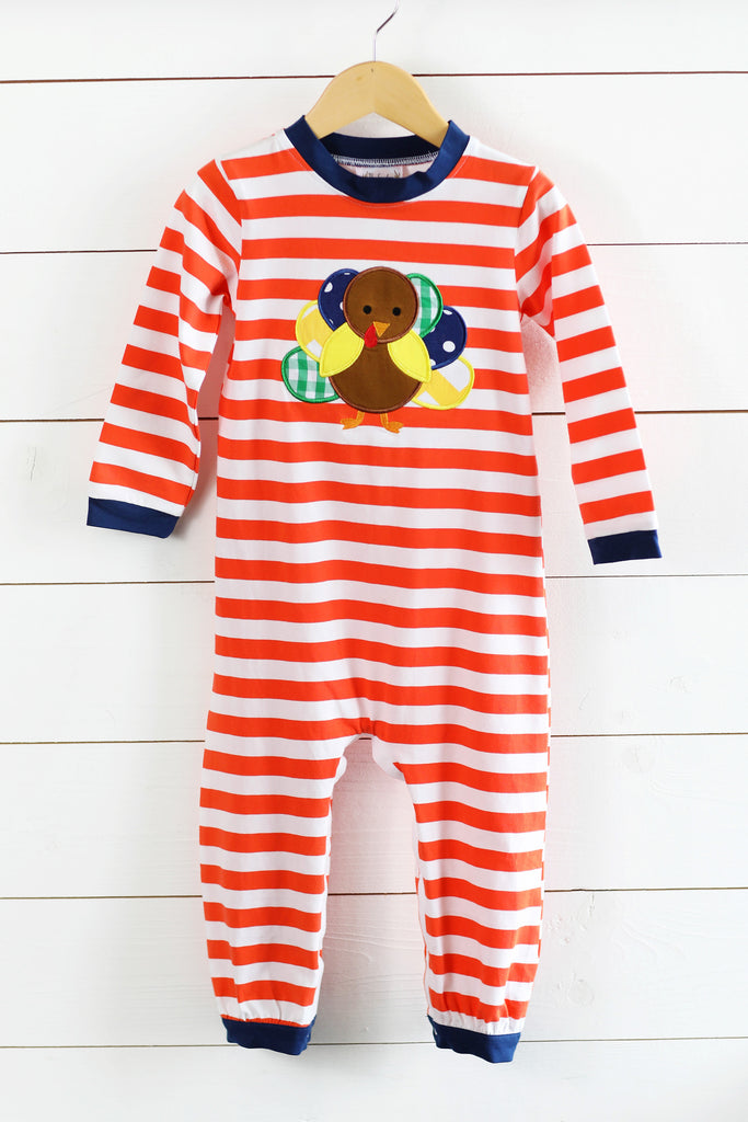 Knit Orange Stripe Navy Trim Turkey Applique Romper