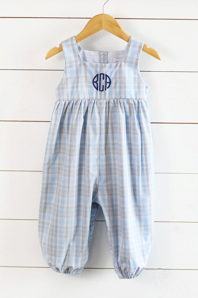 Blue Plaid Long Bubble