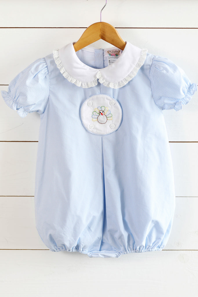 Shadow Embroidered Circle Tab Blue Gingham Collared Girl Bubble