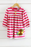 Knit Hot Pink Stripe Turkey Applique Dress