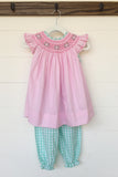 Light Pink Smocked Angel Wing Top Mint Gingham Bubble Pant Set