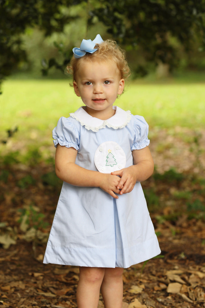 Shadow Embroidered Circle Tab Blue Gingham Collared Dress