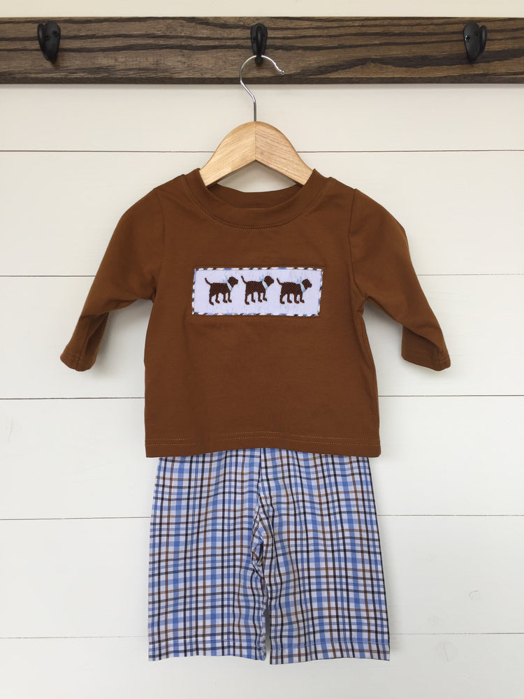 Load image into Gallery viewer, Lab Smocked Brown Long Shirt Plaid Pant Set