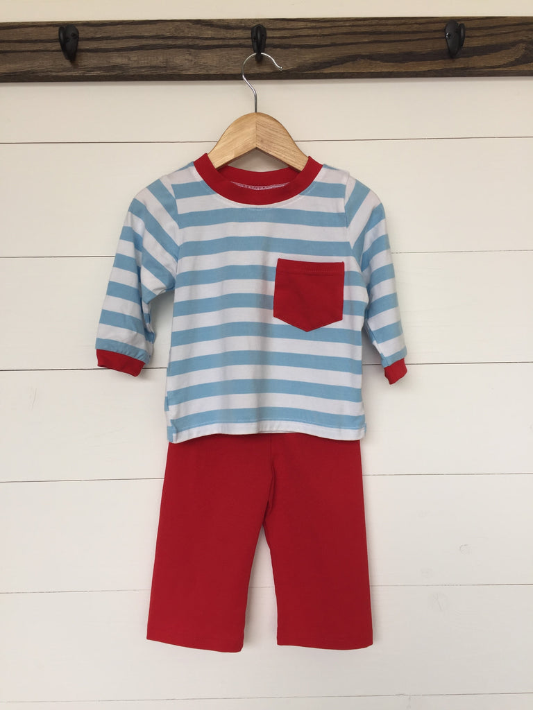Light Blue Striped Shirt Red Knit Pant Set