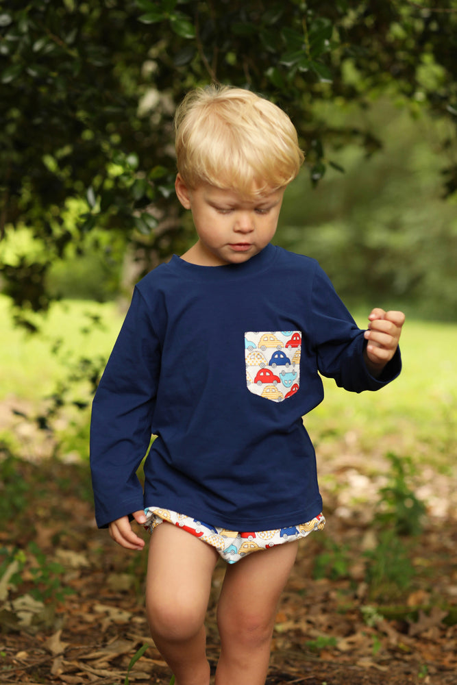 Load image into Gallery viewer, Car Print Navy Shirt Diaper Set