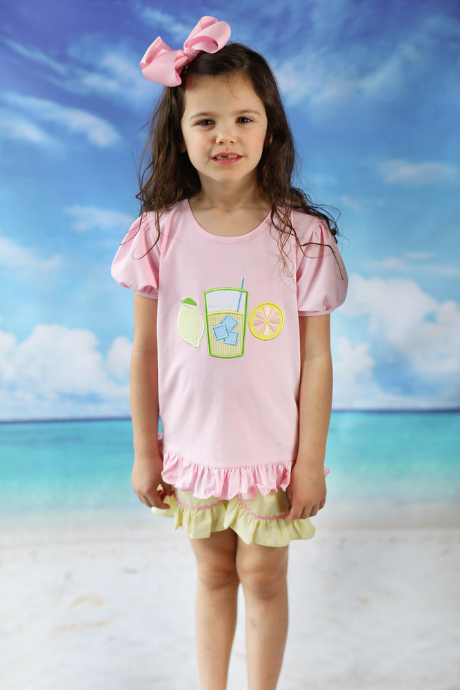 Lemonade Applique Pink Shirt Yellow Gingham Ruffle Short Set