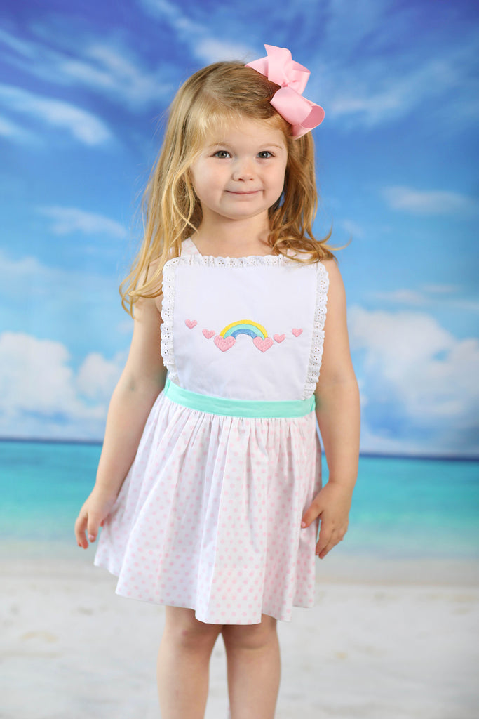 Rainbow Embroidered Pink Dot Tie-Back Sundress