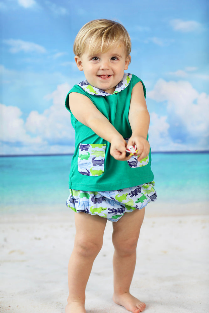Load image into Gallery viewer, Gator Print Collared Diaper Set