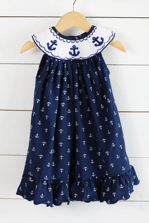 Load image into Gallery viewer, Knit Anchor Smocked Anchor Print Navy Bishop Dress