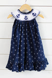 Knit Anchor Smocked Anchor Print Navy Bishop Dress