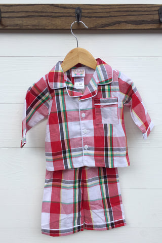 Elephant Smocked Red Gingham Apron Diaper Set