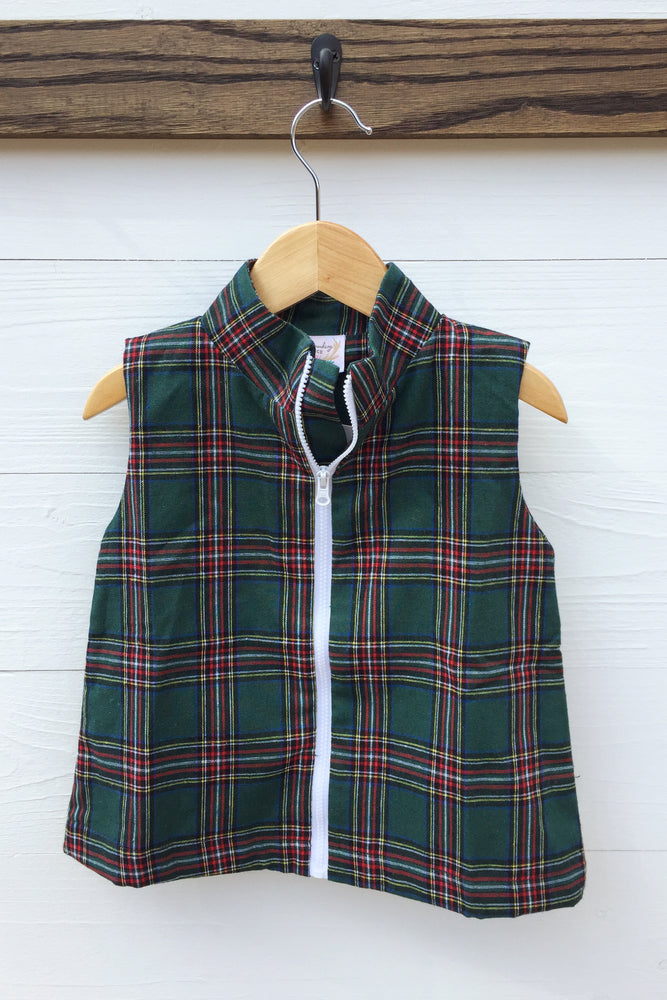 Load image into Gallery viewer, Green Plaid Zipper Vest