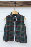Green Plaid Zipper Vest