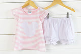 Knit Mouse Applique Pink Stripe Shirt Pink Bitty Dot Bubble Short Set