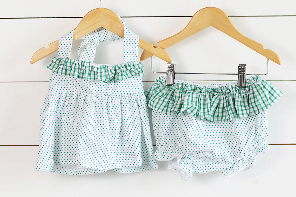 Load image into Gallery viewer, Knit Green Bitty Dot Ruffle Trim Diaper Set