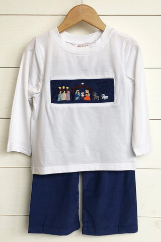 Nativity Smocked Navy Corduroy Collared Pant Set