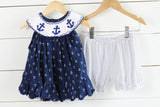 Knit Anchor Smocked Anchor Print Navy Top Navy Dot Bubble Short Set