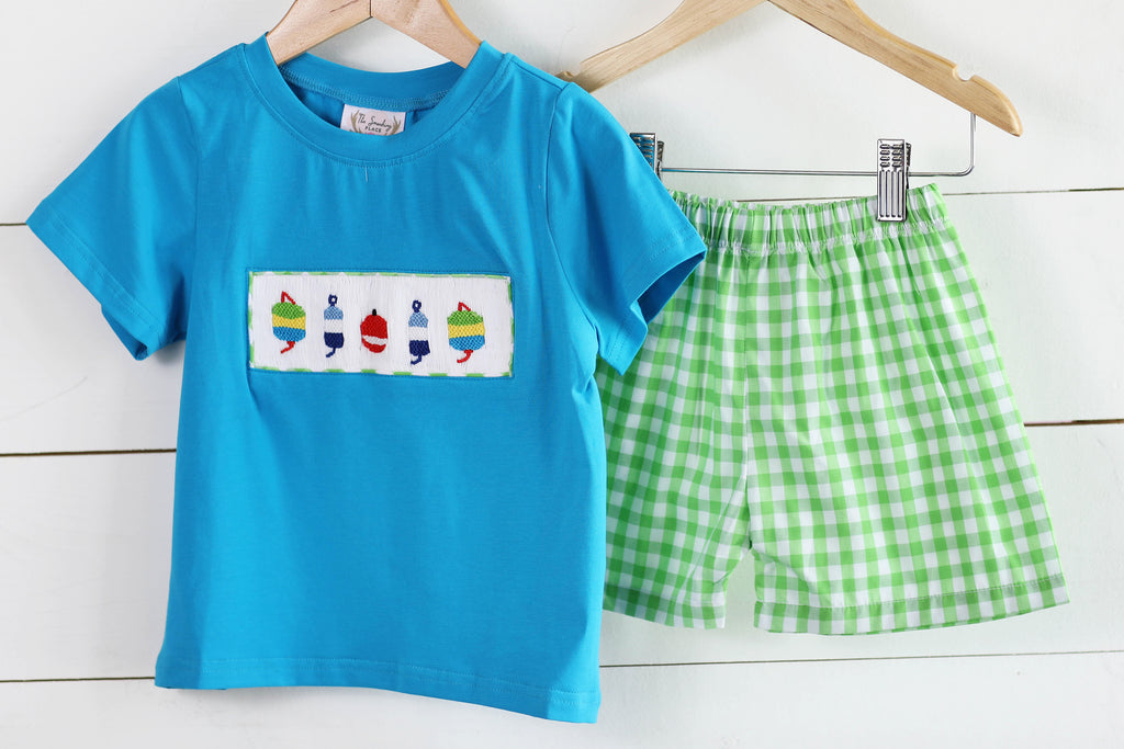 Tools Applique Green and Blue Plaid Boys Short Set