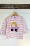 Girl Cozy Coupe Appliqué Pink Stripe Shirt