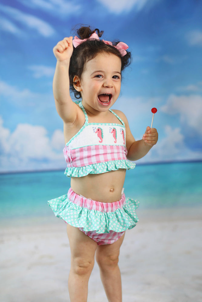 Load image into Gallery viewer, Seahorse Smocked Pink Gingham Mint Dot Two Piece Swimsuit