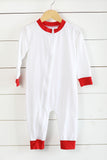 Knit White Zip Front One-Piece Lounge Wear with Red Ruffle Trim