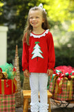 Knit Christmas Tree Applique Ruffle Red Shirt Green Bitty Dot Icing Pant Set
