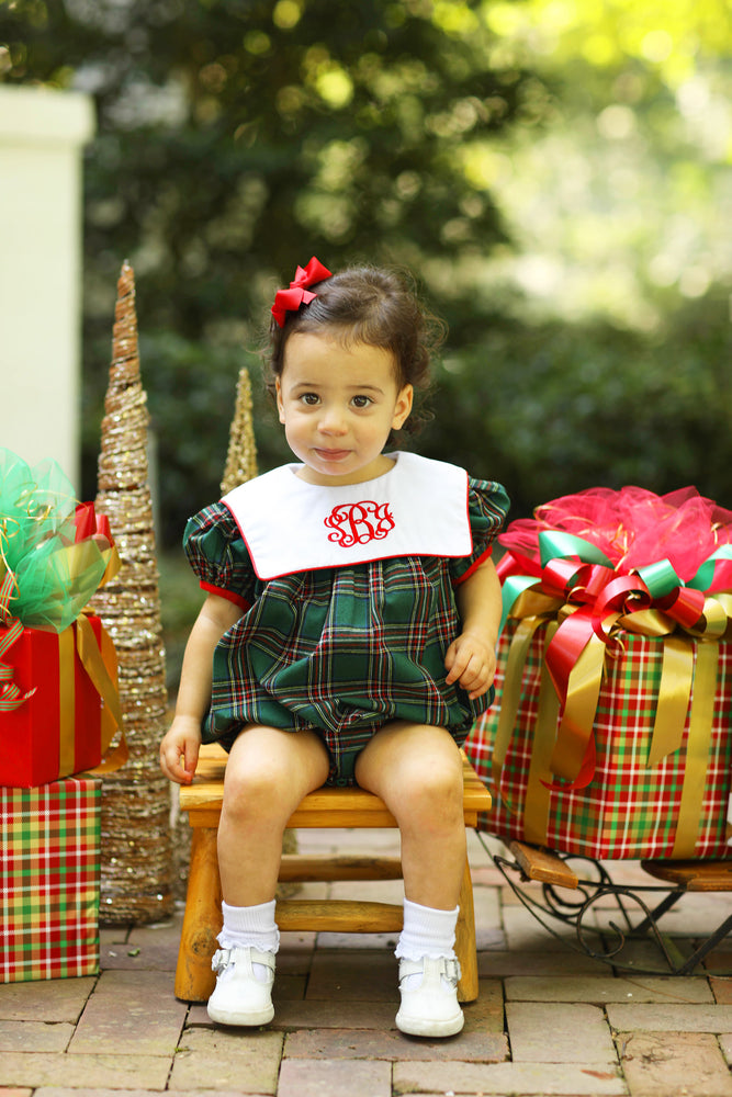Green Plaid Girl Bubble with Red Trim