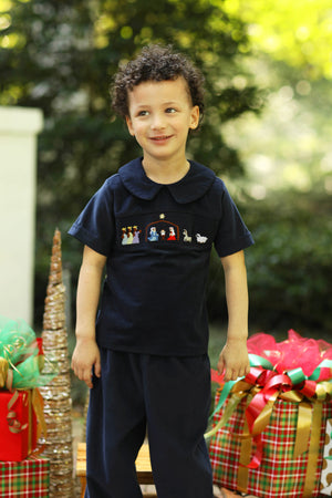 Load image into Gallery viewer, Nativity Smocked Navy Corduroy Collared Pant Set