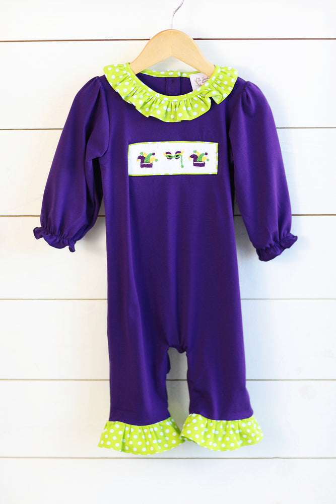 Load image into Gallery viewer, Knit Mardi Gras Smocked Purple Romper Lime Green Dot Ruffle Trim