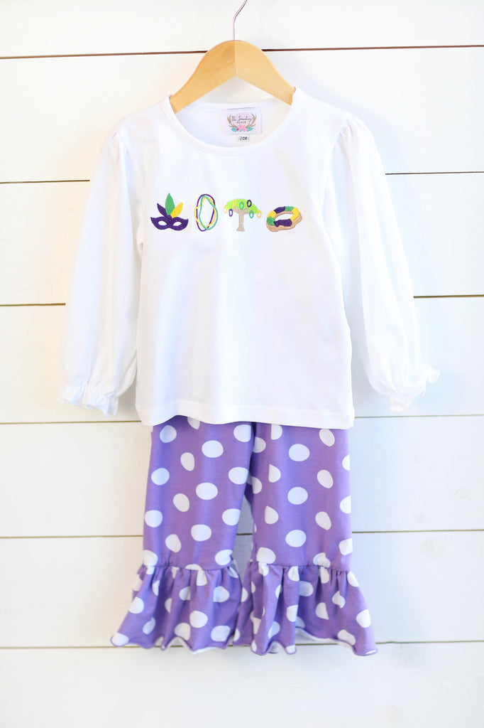Knit Parade Embroidered Shirt Purple Polka Dot Ruffle Pant Set
