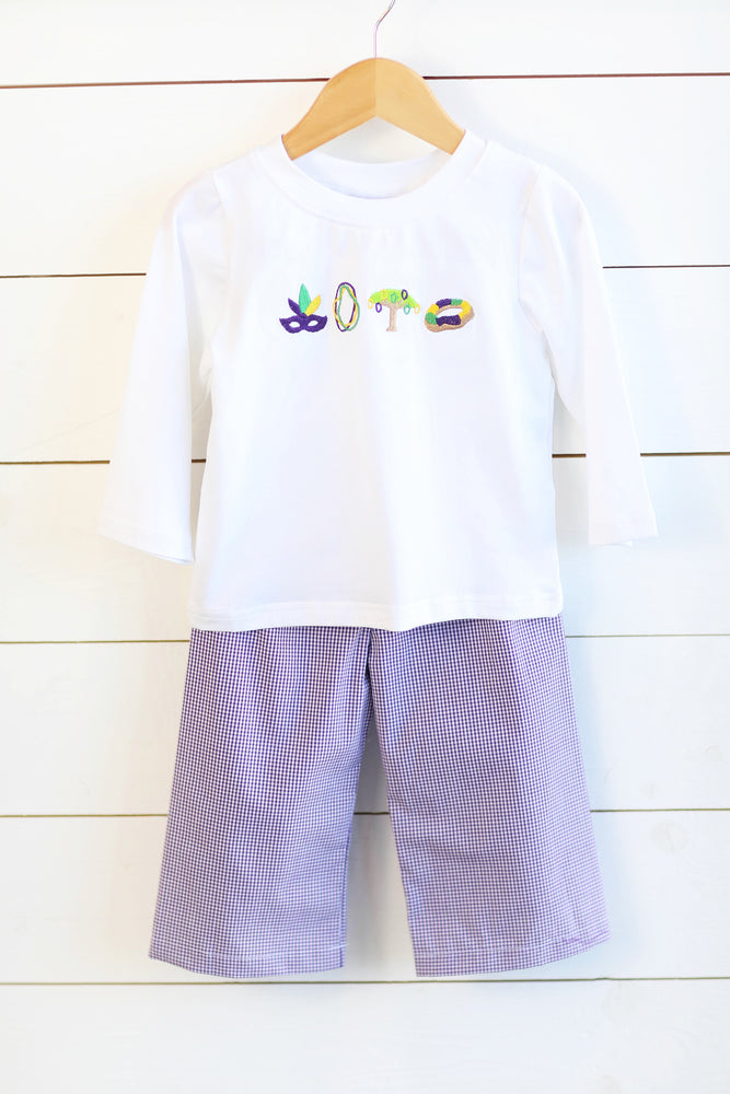 Load image into Gallery viewer, Parade Embroidered Shirt Purple Gingham Pant Set