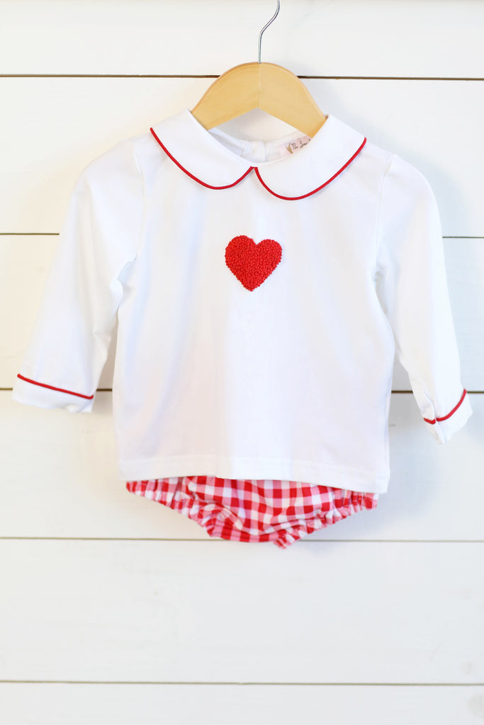 Knit Heart French Knot Embroidery Top Red Gingham Diaper Set