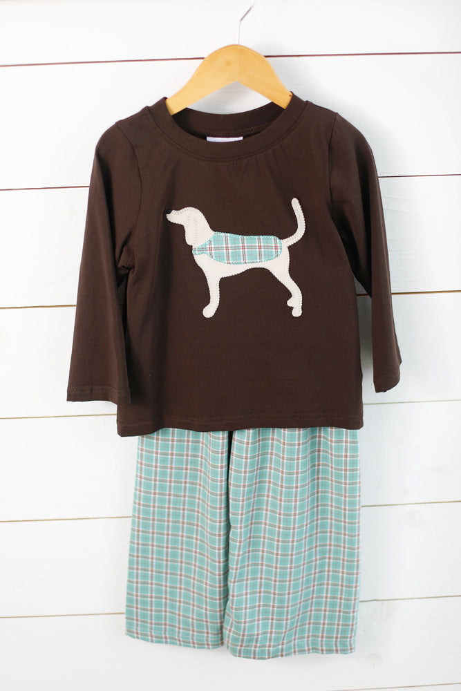 Load image into Gallery viewer, Hound Dog Applique Mint Tartan Pant Set