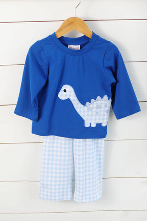 Load image into Gallery viewer, Knit Dinosaur Applique Blue Gingham Pant Set