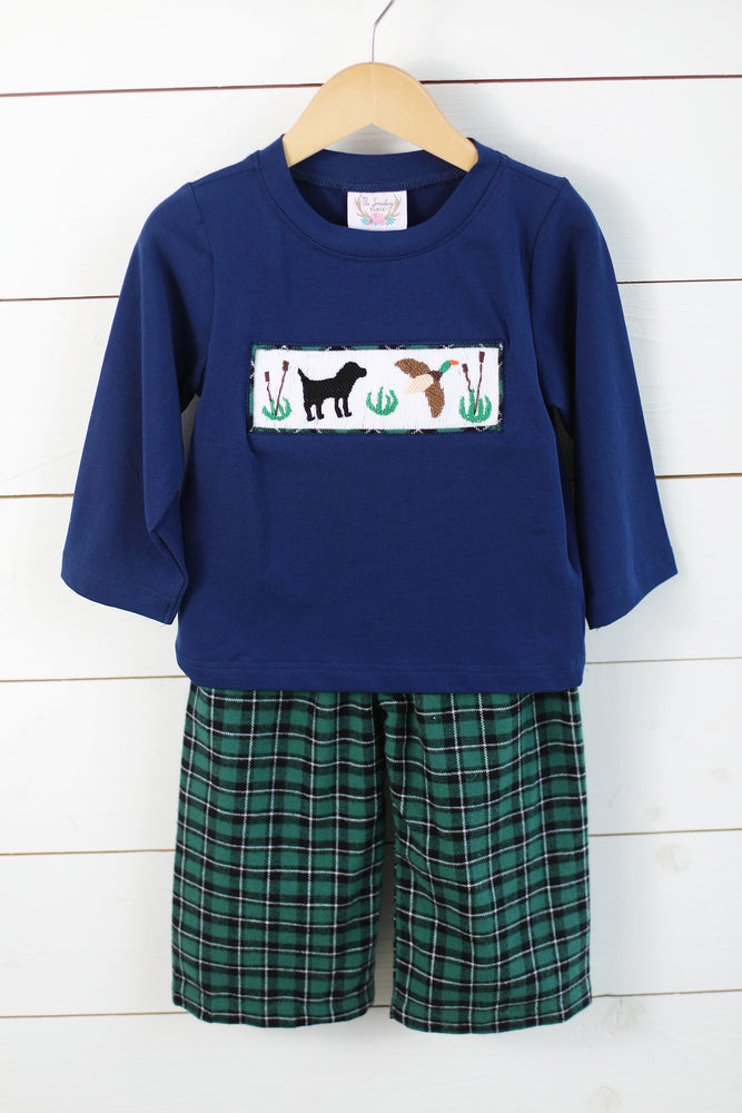 Load image into Gallery viewer, Lab Duck Smocked Green Tartan Pant Set