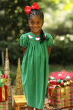 Santa Smocked Green Corduroy Bishop Dress