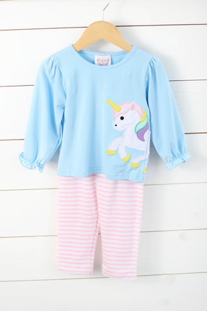 Load image into Gallery viewer, Knit Unicorn Applique Pink Stripe Legging Set