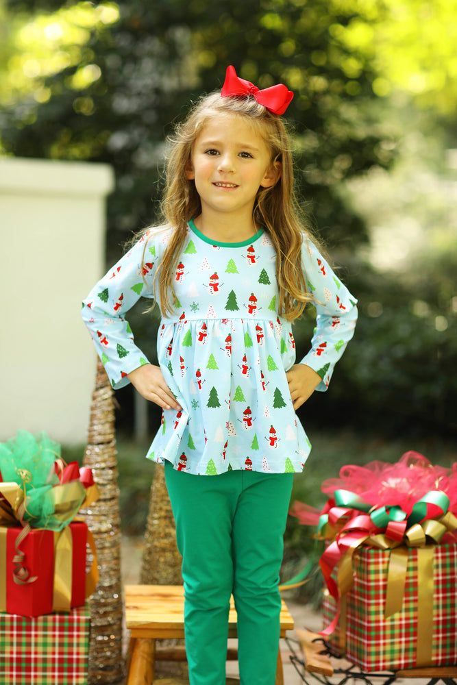 Knit Winter Wonderland Print Top Green Girl Pant Set