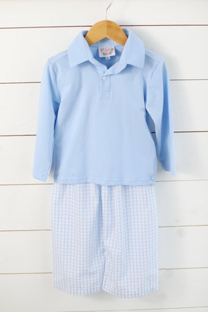 Load image into Gallery viewer, Blue Windowpane Collared Pant Set