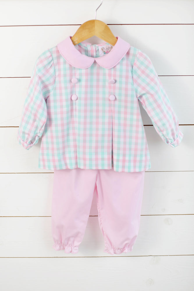 Load image into Gallery viewer, Mint & Pink Plaid Banded Pant Set