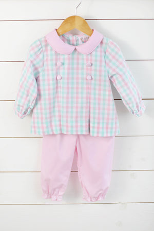 Mint & Pink Plaid Banded Pant Set