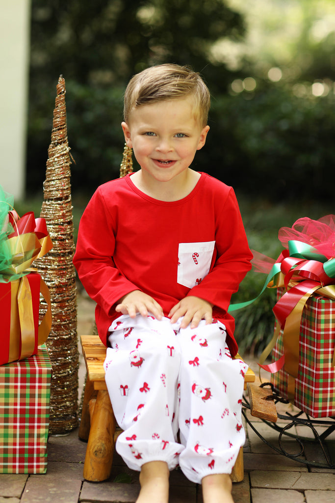 Red Shirt Santa Print Bubble Pant Set