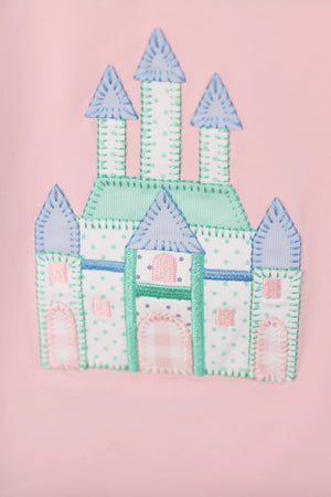 Knit Castle Applique Mint Bitty Dot Bubble Pant Set