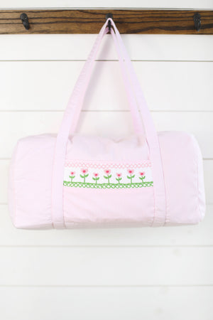 Load image into Gallery viewer, Tulip Smocked Pink Gingham Duffle