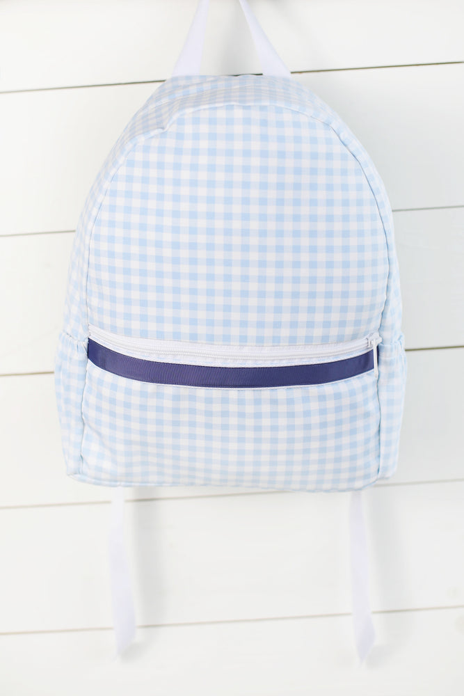 Knit Blue Gingham Backpack