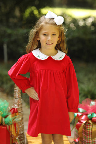 Nativity Smocked Navy Corduroy Bishop Dress