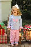 Mitten Applique Blue Long Sleeve Ruffle Shirt Pink Dot Bubble Pant Set