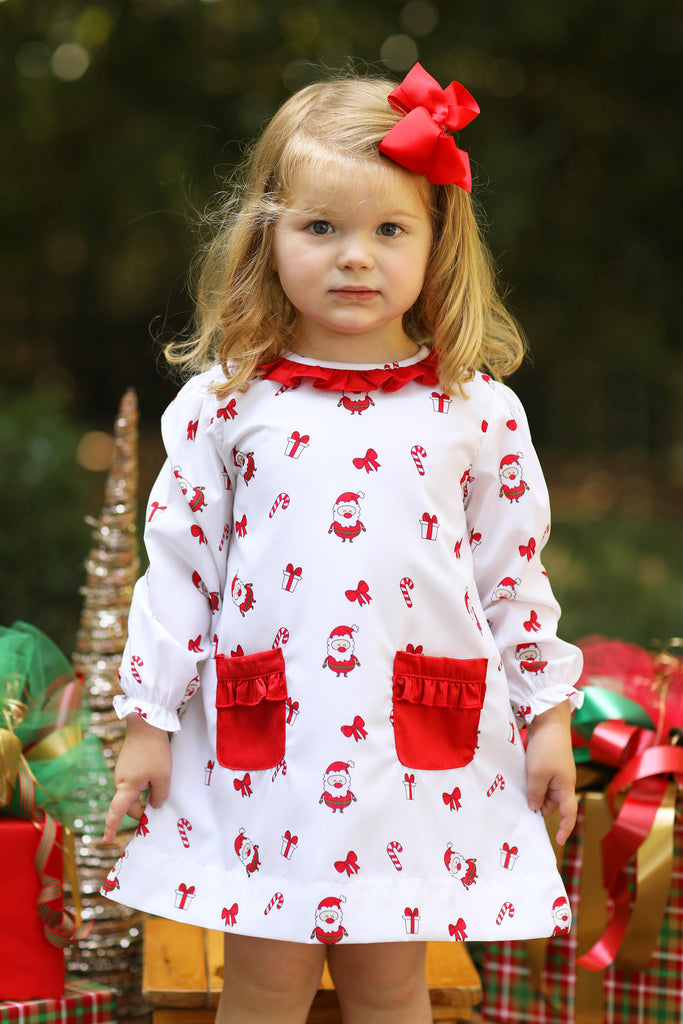 Santa Print Red Ruffle Collar A-Line Dress