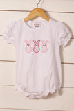 Girl Easter Bunny Applique White Knit Bubble