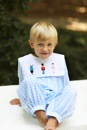 Knit Nutcracker Embroidered Bib Blue Gingham Long Romper
